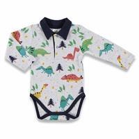 Kış Erkek Bebek Happy Dino Polo Yaka Emprime Uzun Kol Body