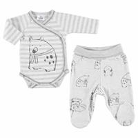 Winter Baby Boy Fleece Animals Undershirt Body with Footie Bottom