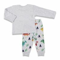 Winter Baby Boy Happy Dino Sweatshirt Single Trouser Set