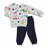 Kış Erkek Bebek Happy Dino Sweatshirt Tek Alt Takım