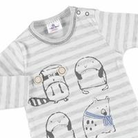 Winter Baby Boy Polar Animals Footed Striped Romper