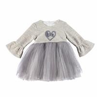 Baby Girl Combed Lined Heart Embroidered Dress