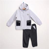 Minikareli İki İp Uzun Kol Patiksiz 2li Sweatshirt-Pantolon