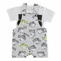 Yaz Erkek Bebek Monkey Pamuklu Kısa Kol Bisiklet Yaka 2li Şort Salopet-Tshirt