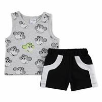 Summer Baby Boy Monkey Cotton Crew-Neck Top Short 2 pcs Set