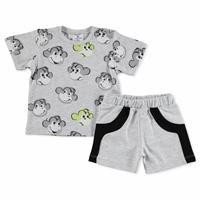 Summer Baby Boy Monkey Cotton Short Sleeve Snap Collar 2 Pieces Tshirt-Shorts