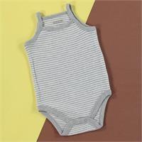 Striped Rib Baby Rope Strap Snaps Neck Bodysuit