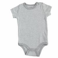 Bebek Çizgili Ribana Kısa Kol Çıtçıtlı Yaka Tek Body