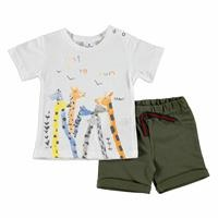 Baby Boy Giraffe Party Tshirt Short Set