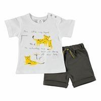 Yaz Erkek Bebek Kaplan Baskılı Flamlı Süprem Tshirt Şort