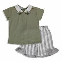 Yaz Kız Bebek Bebek Vintage Bebe Yaka Bluz Şort