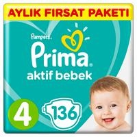 Active Baby Diapers Size 4 Maxi Monthly Advantage Pack 9-14 kg 136 pcs