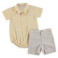 Yaz Erkek Bebek Class Poplin Kısa kol Polo Yaka 2li Gömlek Body -Şort Takım