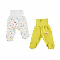 Baby Boy Wide Foldable Casual Waist Footed Pants 2 Pack