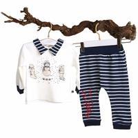 Erkek Bebek Dino Sweatshirt Şalvar Tek Alt 2li Takım