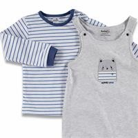 Baby Striped Embroidered Detail Dungarees Sweatshirt Set 2 pcs