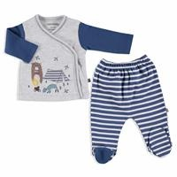 Camping Interlock Baby Bodysuit Footed Pants