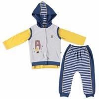 Camping Interlock Baby Sweatshirt Trousers Vest 3 pcs