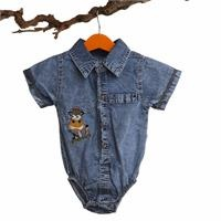 Embroidered Short Sleeve Denim Shirt Bodysuit
