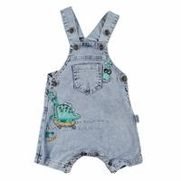 Dino Embroidered Denim Shorts Dungarees