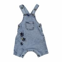 Teddy Bear Printed Denim Shorts Jumpsuit
