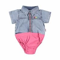 Baby Girl Short Sleeve Embroidered Shirt Bodysuit