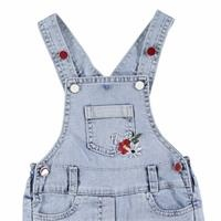 Baby Girl Embroidered Short Jumpsuit Denim