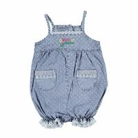 Baby Girl Pocket Detailed Denim Short Romper