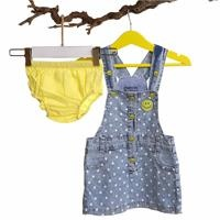 Baby Girl Smiley Face Denim Jumpsuit Dress