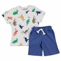 Yaz Erkek Bebek Renkli Dinozor İki İp Şort - Bisiklet Yaka Süprem Tshirt Takım