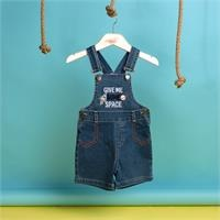 Summer Baby Boy Ufo Embroidered Dungarees