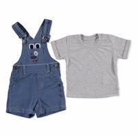 Dog Short Sleeve Crew-Neck Baby Dungarees T-shirt Set