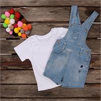 Elephant Embroidered Short Sleeve Crew-Neck Baby Dungarees T-shirt Set