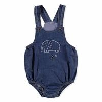 Elephant Embroidered Crew-Neck Baby Romper