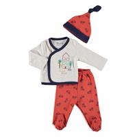 Smart Home Baby Boy Bodysuit Hat Footed Pants 3 Pcs Set