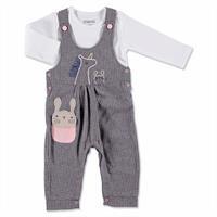 Kış Kız Bebek Bebek Tavşan Aplikeli Dokuma Salopet Sweatshirt 2li Takım