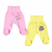 Baby Wide Foldable Casual Waist Footed Pants 2 Pack