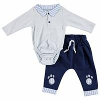 My Toy Bear Friend Baby Polo Neck Bodysuit Footless Pants