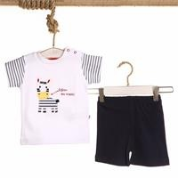 Zebra Embroidered Baby Boy Tshirt Short