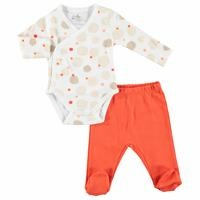 Coral Printed Baby Bodysuits Footed Trousers