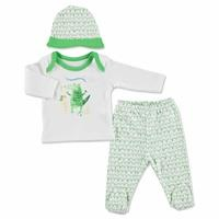 Summer Baby Boy Funny Alligator Bodysuit Hat Pant 3 pcs Set