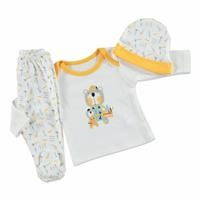 Summer Baby Boy Bear Bodysuit Hat Pant 3 pcs Set