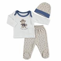 Summer Baby Boy Little Cowboy Bodysuit Hat Pant 3 pcs Set
