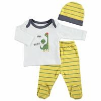 Summer Baby Boy Skateboard Dino Bodysuit Hat Pant 3 pcs Set