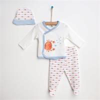 Summer Baby Boy Red Crab Bodysuit Hat Pant 3 pcs Set