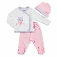 Summer Baby Girl Cute Cat Bodysuit Hat Pant 3 pcs Set