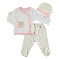 Summer Baby Girl Sleepy Owl Bodysuit Hat Pant 3 pcs Set
