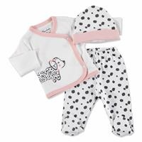 Summer Baby Girl Cute Dogs Bodysuit Hat Pant 3 pcs Set