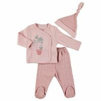Summer Baby Girl Star Patterned Bodysuit Hat Pant 3 pcs Set
