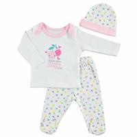 Summer Baby Girl Happy Fruits Bodysuit Hat Pant 3 pcs Set